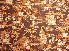 Vintage Waverly Pavilion Orange Chinoiserie Asian Fabric 1970s Cotton