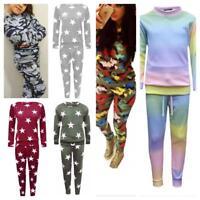 Kids Girls camouflage Rainbow Print Lounge wear two piece Tracksuit 7-13