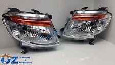 FORD RANGER PX Head lights Headlamps NEW PAIR left & right 2012-2015 CHROME