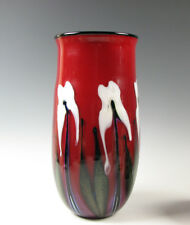 """Charles Lotton Art Glass Vase Deep Red with White Flowers 12&1/4"""" tall 2009"""