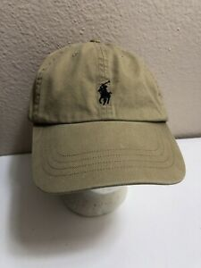 Polo Ralph Lauren Beige Tan Leather Adjustable Strap Back Baseball Cap Hat