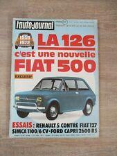 L'AUTO JOURNAL N°8 MAI 1972 LA 126 NOUVELLE FIAT 500