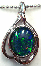 Opal Size10x8mm Lady Gift Natual Opal Pendant Solid 925 Sterling Silver 18k WGP