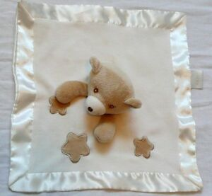 JAFRA Tan Bear Lovey Blanket Stars Cream Satin Baby Security