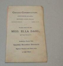 1898 Ella Dahl Piano Recital Concert Program Chicago Conservatory Faculty