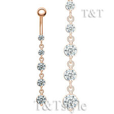 T&T Rose Gold GP CZ Long Dazzling Dangle Pink CZ Belly Bar Ring BL155Z