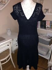 *RALPH LAUREN* NAVY BLUE HAND KNIT SHORT SLEEVE DRESS (M)