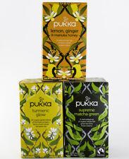 Pukka Tea - Glowing 3 Pack - Lemon/Ginger/Manuka Honey, Turmeric Glow, & Matcha
