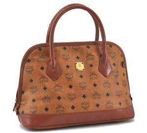 Authentic MCM Cognac Visetos Leather Vintage Hand Boston Bag Brown D7613