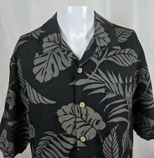 L Black Grey Tiki Goth Palm Frond Leaves Hawaiian Aloha Shirt Jamaica Jaxx