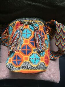 Colombian Wayuu Crossbody Multicolor Bucket Beach Bag Mochila Summer