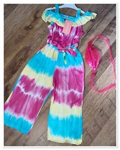 Girls Pink Tye Dye Jumpsuit With Bag. Aged 8yrs. Brand New