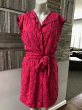 See by Chloe Red Print V Neck Tie Waist Wrap Button Dress Size 4