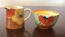 Clarice Cliff Bizarre Nasturtium Creamer Milk Jug and Sugar Bowl EXC. COND.