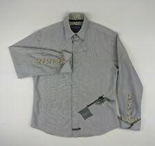 English Laundry Mens Size M Gray Embroidered Pistol Long Sleeve Dress Shirt
