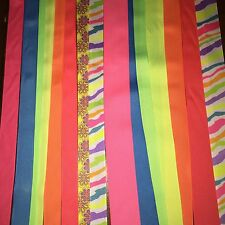 New Neon mix, 1-1/2 inch, 7/8 inch,3/8 inch stripes, solids, print 20 yds total
