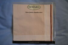 Executive Mens Handkerchief - Light Tan with Red Stripe