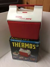 Vtg THERMOS 7707 LIL COOL DATE 7 Quart Split Lid Lunchbox Cooler Box Tray Red
