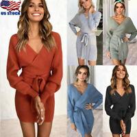 Womens Winter Dress Long Sleeve Wrap V Neck Knitted Sweater BodyCon Mini Dresses