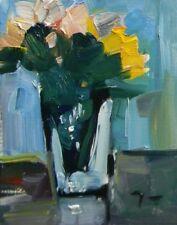 JOSE TRUJILLO - ORIGINAL Oil Painting Modern Impressionist White Flower Yellow