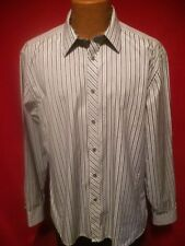 TED BAKER ENDURANCE White Striped LS 100% Cotton Dress Shirt Size 17