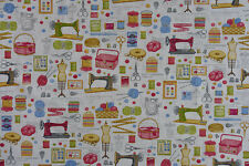 Sewing Themed Fabric - Quality Upholstery, Curtain Cotton Fabric,