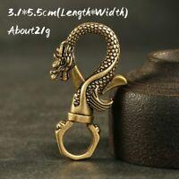 Vintage Dragon Head Solid Brass Fob Belt Clip Buckle Key Chain Ring Holder Hook