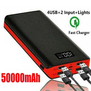 50000mAh Power Bank 4USB Portable External Battery Backup Charger Fast Charging