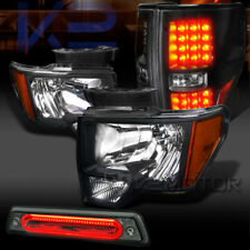09-14 Ford F150 Black Headlights+LED Tail Lamps+Smoke LED 3rd Brake