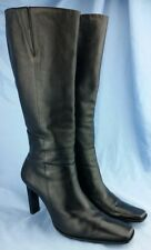 """Bronx Black Knee High 4"""" Heel Leather Boots Square toe Side Zip Up Women's 9.5 M"""