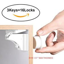 16Pcs Cabinet Locks Child Proof Cupboards Drawers Invisible Keep Baby Safety