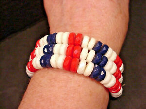 Red White Blue Bracelet Plastic Beads Wire Wrap 1950-60's All American Patriot