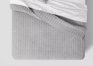 Threshold- Channel Stitch Velvet Quilt, King, Gray