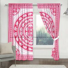 Pink Elephant Mandala Indian Cotton Drapes Curtain Home Window Door Valances Set