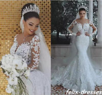 Gorgeous White/Ivory Mermaid Wedding Dress Lace Appliques Bridal Gown Custom New