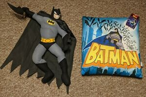 The Batman Plush Stuffed Toy and Pillow New with Tags Rare Batarang Vintage