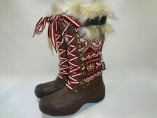 MukLuks Snowy Boots Sz 6 Winter Snowflakes Leather + Fur Thinsulate