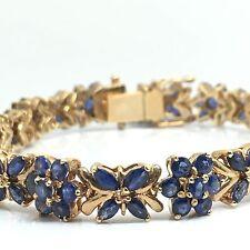 14K Yellow Gold Flower Sapphire Bracelet 19.9 Grams