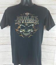 Harley Davidson Coziahr Decatur Illinois Black Blue Men's Medium T-Shirt Skulls