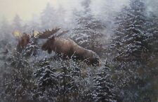 The Suitors - Challenge in the Mist by John Seerey Lester Moose Print