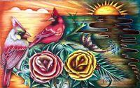 ORIGINAL INMATE PRISON ART DRAWING BIRDS CARDINALS OCEAN SUNSET FLOWERS 11x7