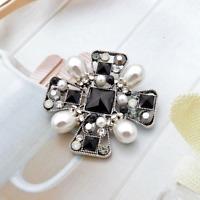 16x26mm Black baroque Reborn Pearl Cz Pave flower Brooch /& pendant