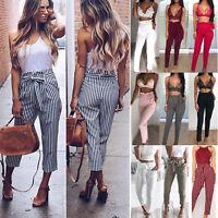 Womens High Waist Tie Belt Paper Bag Cropped Pants Slim Fit Cigarette Trousers