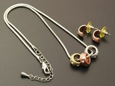 Ellen Ashley Rolling Crystal Pendants Snake Chain Necklace & Semi Hoop Earrings