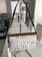 Calvin Klein Coated Canvas Rainbow Logo Slim Chain Pouchette Tote Shoulder Bag