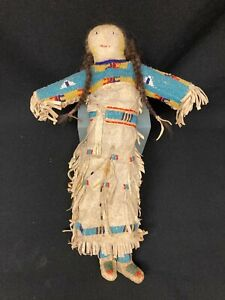 Antique Native  American Indian Doll, Beaded Leather, Central Plains, Lakota