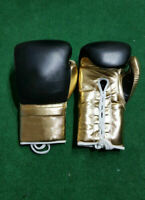New Black Gold Leather Boxing Gloves any logo or Name, inspired by winning grant