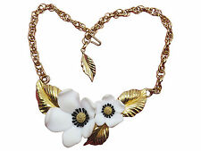 Louis Feraud Paris Necklace Dogwoods of Spring Blossom 18 inch Gold Chain 386g