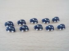 10 x Cute Navy Blue Car Shaped Baby Novelty Plastic Shank Buttons F11