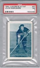 1952 Junior Blue Tint Hockey Card Three-Rivers Reds L. Desrosiers Graded PSA 7